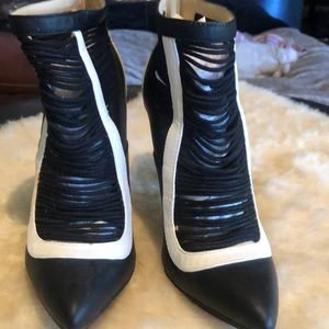Unique looking black and white booties